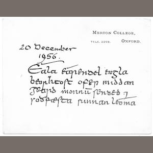 TOLKIEN (J.R.R.) Important autograph quotation in four lines from the Crist of Cynewulf