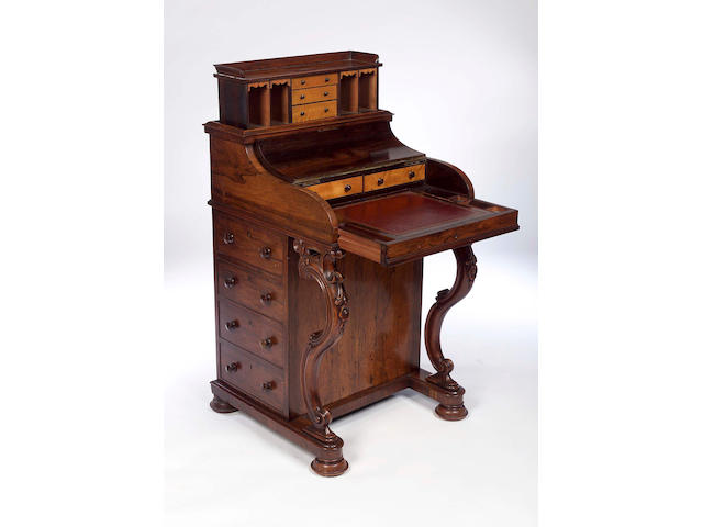 A Victorian rosewood davenport,