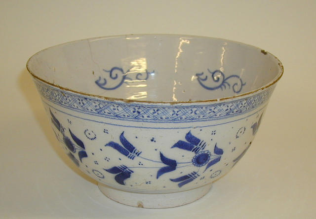 A Dutch Delft blue and white bowl, 18th Century,