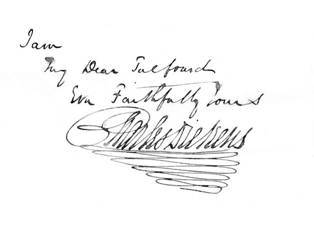 "DICKENS (CHARLES) Autograph letter signed (""Charles Dickens""), to Thomas Noon Talfourd, dedicatee of"