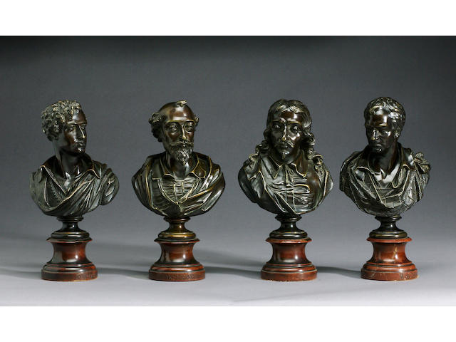Ernest Eugene Hiolle (French, 1834-1886): A set of four bronze portrait busts of English literary figures