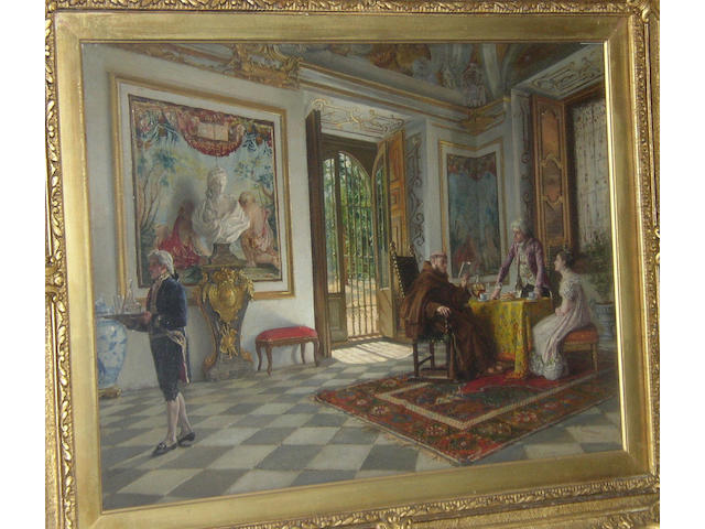 """Vicente Esquivel (19th Century) Spanish """"The Abbot's Visit""""signed 'V. Esquivel', titled on label verso, oil on panel, 41.5 x 55cm (16¼ x 21¾in).  see illustration"""
