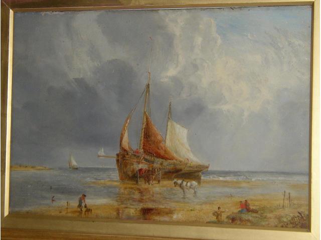 """William Joseph Julius Caesar Bond (1833-1928) British """"Unloading the catch""""signed 'W.J.J.C. Bond', oil on panel, 45.5 x 67.5cm (18 x 26½in).  see illustration"""