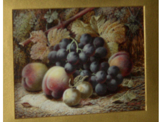 Oliver Clare (1583-1927) British Black grapes, peaches and greengages against a mossy bank; apples, raspberries on a cabbage leaf, gooseberries and a plum against a mossy bankboth signed 'Oliver Clare', oil on board, 19 x 25.5cm (7½ x 10in). (A pair) (2)  see illustration of both