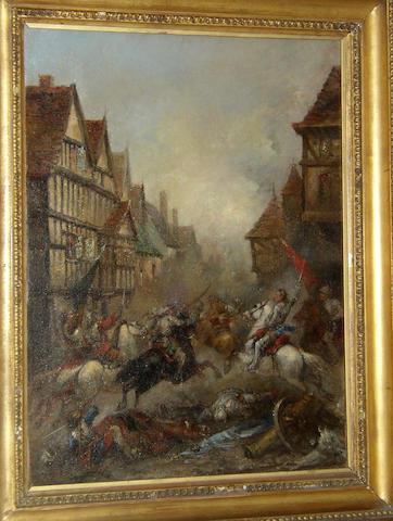 Follower of Charles Cattermole RI, RBA (1832-1900) British, Cavalry skirmish in a town,bears indistinct signature 'Cattermole', oil on canvas, 61 x 46cm.