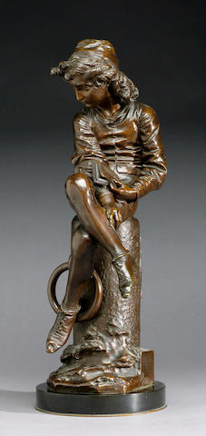 Guilio Monteverde (Italian, 1837-1917): A bronze figure of the young Christopher Columbus
