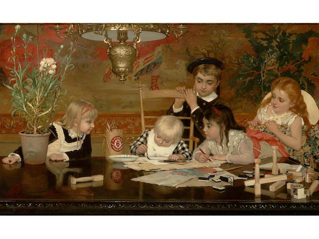 Jan Verhas (Belgian, 1834 - 1896) Le petits Artistes 57 x 92 cm. (22 1/2 x 36 1/4 in.)