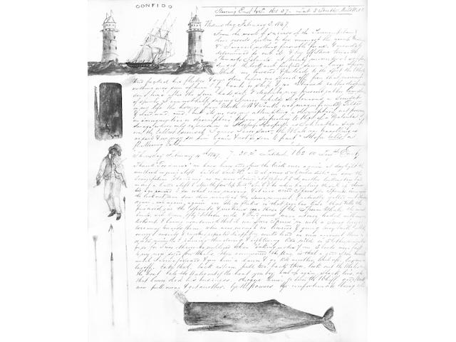 AUSTRALIA, THE NEW HEBRIDES and SOLOMON ISLANDS Extensively illustrated whaling journal kept by Henr
