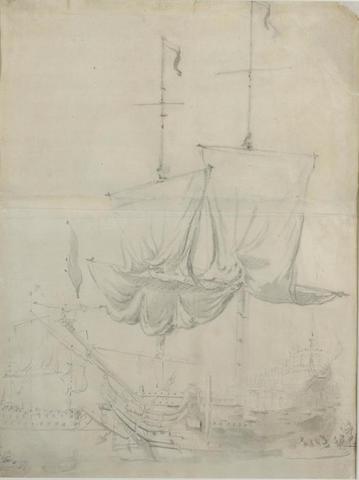Attributed to Willem van de Velde the Younger (1633-1707) 18 1/2 x 13 3/4 in (47 x 35.2 cm.)