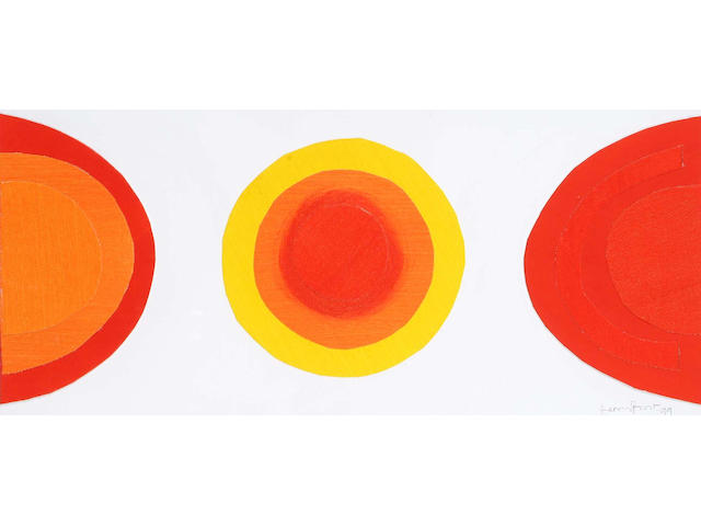 Sir Terry Frost (British, 1915-2003) Red Movement 24 x 52.5cm.