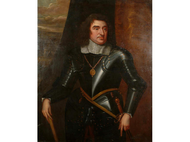 Manner of Robert Walker, Portrait of a gentleman, said to be General Monck, the 1st Duke of Albermarle, three-quarter-length, in armour, with a white lace collar, a view to an army encampment beyond 127 x 103.2 cm.