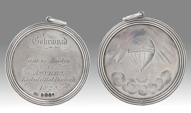 Of Welsh  and Ballooning interest: A George IV Eisteddford/Ballooning presentation medallion, maker untraced, London 1828,