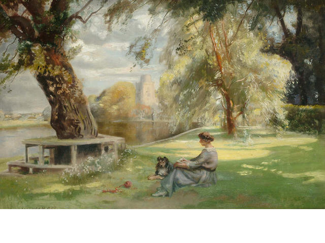 John Lochhead (British, 1866-1921) A Summer`s day by the river,  41 x 62cm