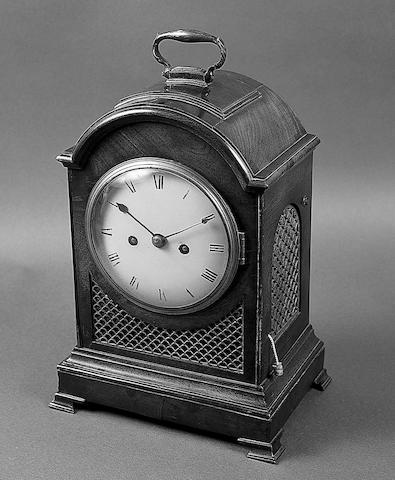 A small George III mahogany and gilt brass mounted bracket clock,