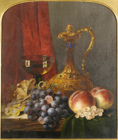 Edward Ladell (British 1821-1886) Still life with assorted fruit, a jug and a glass of wine, on a le