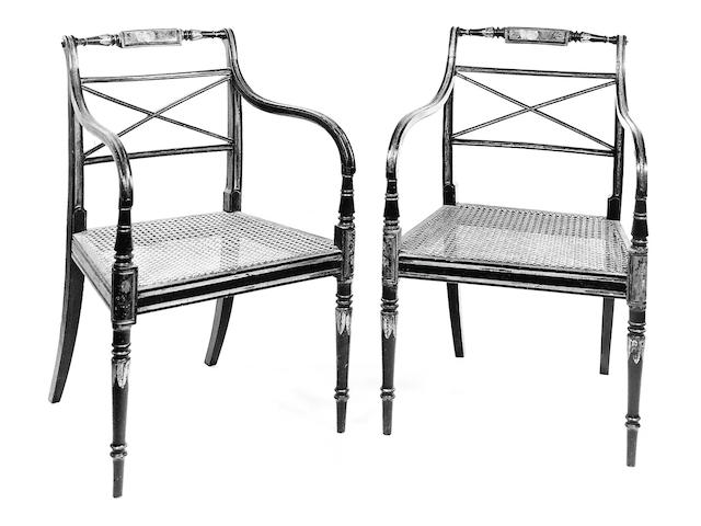 Six Regency ebonised chairs