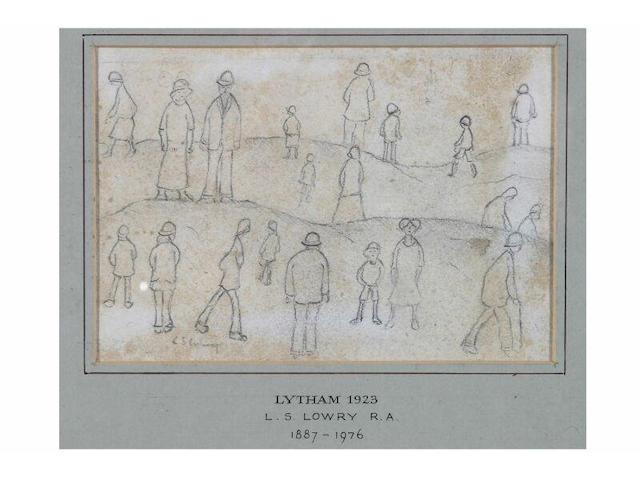 Laurence Stephen Lowry (1887 - 1976) 'Lytham, 1923', 9 x 13cm.