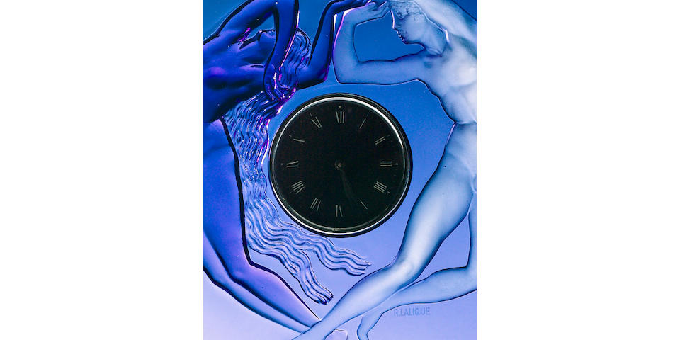 Blue Lalique 'Night and Day' Clock