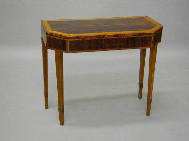 A 19th Century mahogany, satinwood and kingwood crossbanded card table,