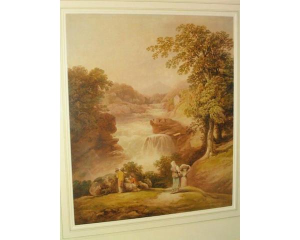 Francis Nicholson (1753 - 1844) 'Stone Byre Lin' - a fall on the Clyde near Lanark, 52 x 43.5cm.