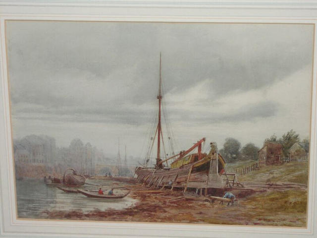 James Whaite Boat building, on the Dee at Chester, 25 x 34cm.