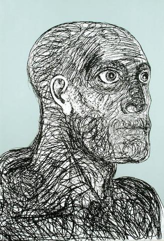 Dame Elisabeth Frink (British, 1930-1993) Head 1 with grey background 108 x 74cm.