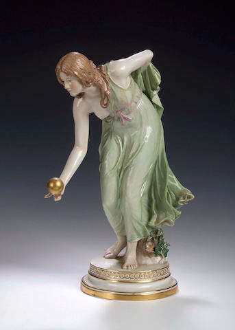 A Meissen figure of a lady bowling,