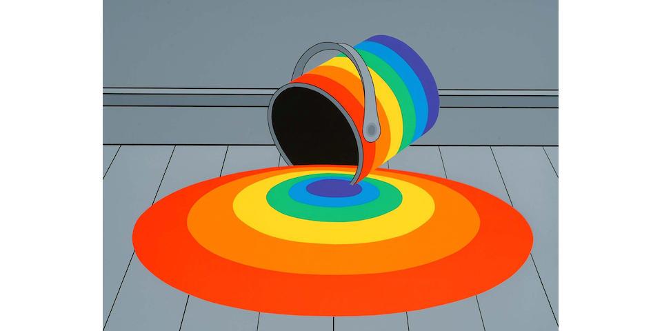 Patrick Hughes (British, b.1939) Spilt Pool unframed, (image) 42 x 57.5cm.