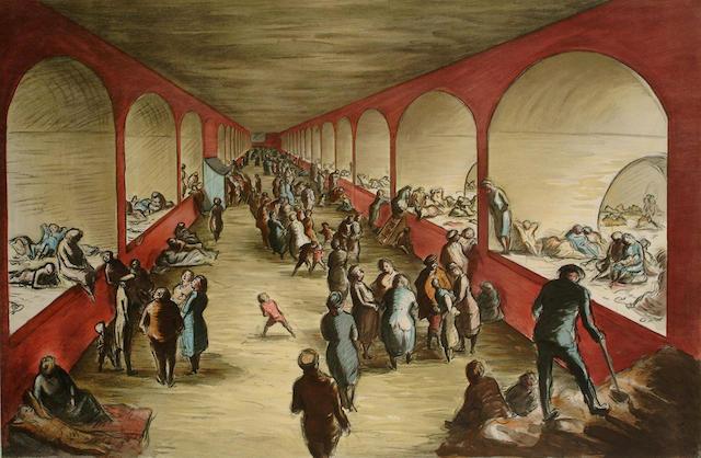Edward Ardizzone (British, 1900-1979) Shelter Scene 65.5 x 99cm.