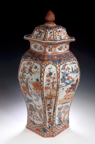 A Chinese Imari vase and cover, 18th Century,
