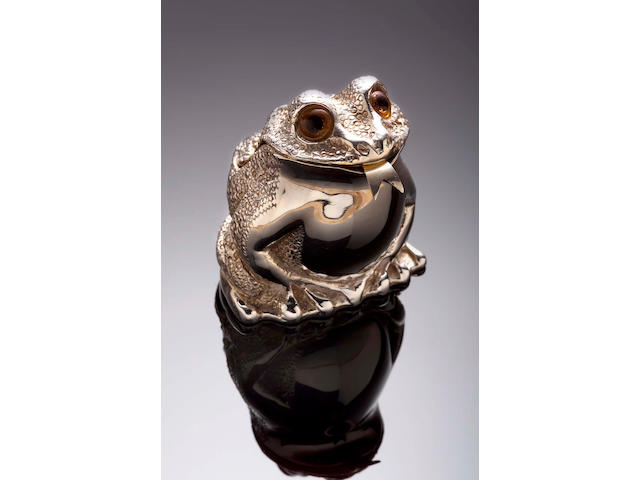 A silver salt in the form of a toad, London 1974,