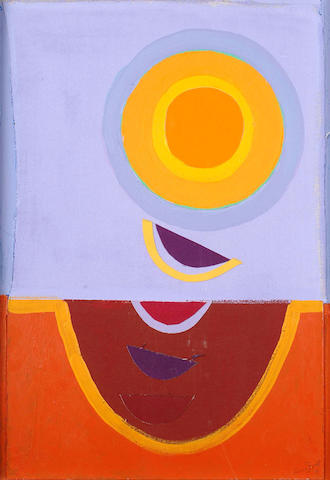 Sir Terry Frost (British, 1915-2003) Purple and Gold Sun 63 x 43cm.