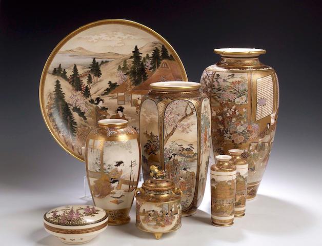 A Satsuma vase by Ryozan, Meiji period,