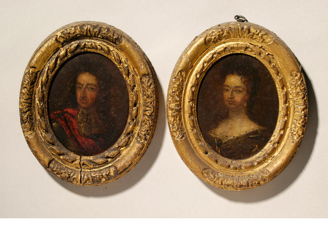 After Sir Godfrey Kneller A miniature portrait of King William III oval, 118mm. high, in composition frame, and a companion, a pair, Queen Mary.