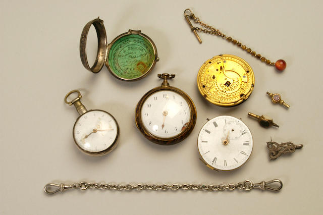 A late 18th/early 19th century open face pair cased gilt metal verge pocket watch,