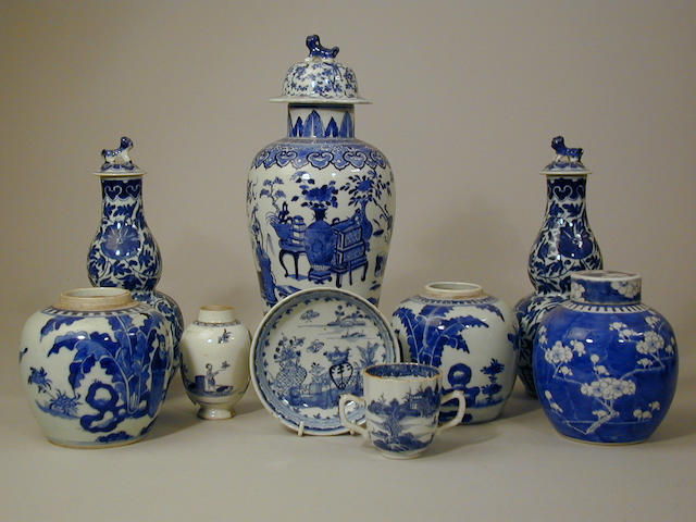 A pair of Chinese porcelain blue and white vases and covers,