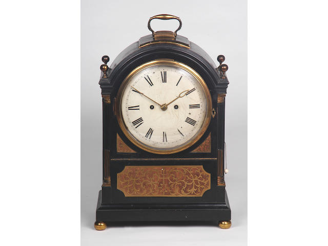 T Moss, London, A good Regency ebonised and gilt brass mounted bracket clock,