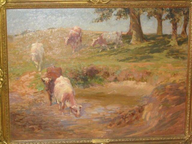 John Sanderson-Wells Cattle watering in a meadow, 44 x 60cm.