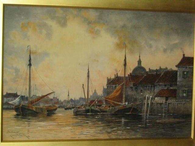 Louis van Staaten 'Dordrecht' - canal scene with shipping and buildings, 49 x 74cm.