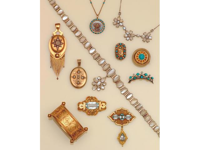 A Victorian pearl and enamel locket/pendant, circa 1870,