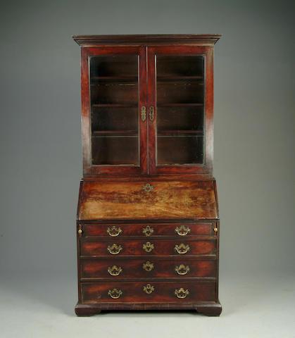A late George III mahogany bureau bookcase
