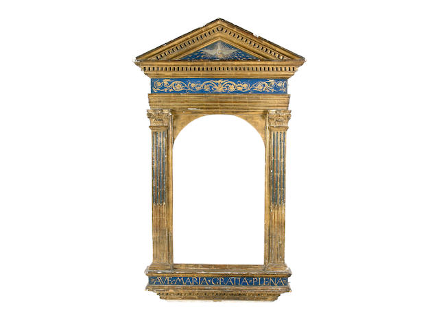 A Continental 19th Century carved, parcel gilt and blue painted tabernacle frame,