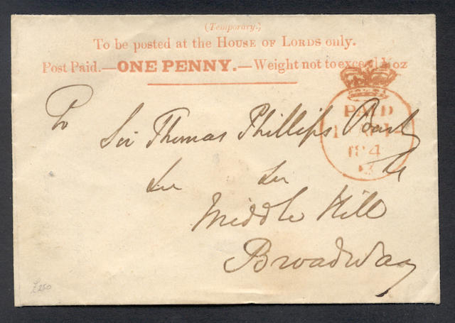 "Parliamentary: 1840 (Apr. 14th) House of Lords 1d. envelope printed in vermilion with neat Crowned ""PAID"" c.d.s. in red, an extremely fine example of this rare item."
