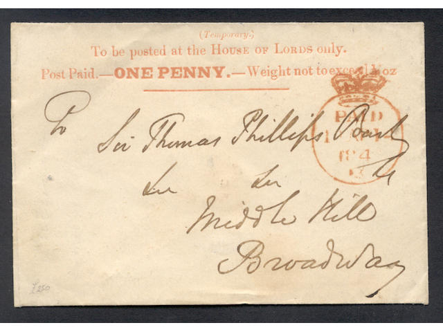 """Parliamentary: 1840 (Apr. 14th) House of Lords 1d. envelope printed in vermilion with neat Crowned """"PAID"""" c.d.s. in red, an extremely fine example of this rare item."""