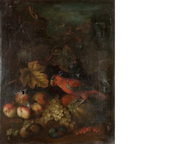 Attributed to Tobias Stranover (Sibiu 1684-after 1731 London) Peaches, grapes, plums, a melon and re