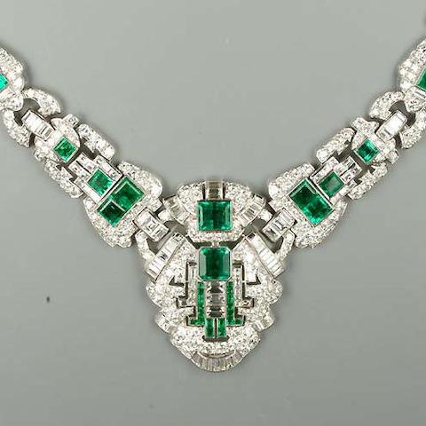 A fine art deco emerald and diamond necklace