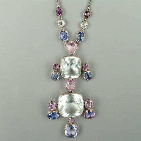 An early 20th century arts and crafts aquamarine and sapphire pendant (2)