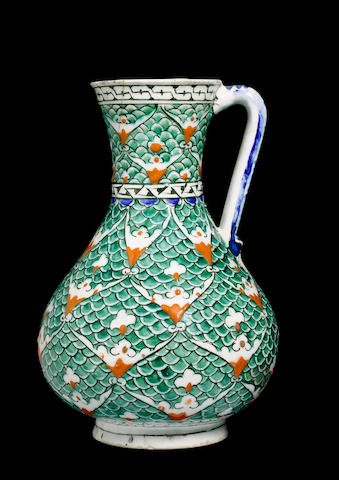 An Iznik scale design pottery Jug Turkey, second half of 16th Century