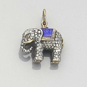 An elephant-shaped pendant, Russian,