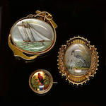 A nautical reverse carved intaglio brooch,